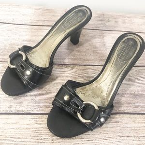 Coach Black Leather Slip On Heel Sandals sz 7